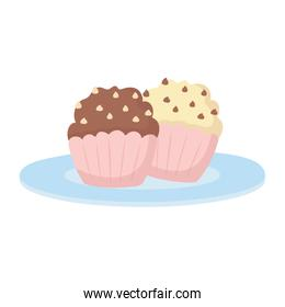 delicious sweet cupcakes isolated icon