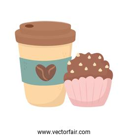 coffee time, disposable cup and sweet cupcake fresh aroma beverage