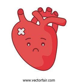 Heart cartoon flat style icon vector design