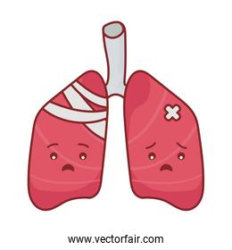 lungs cartoon flat style icon vector design