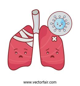 lungs and virus cartoon flat style icon vector design