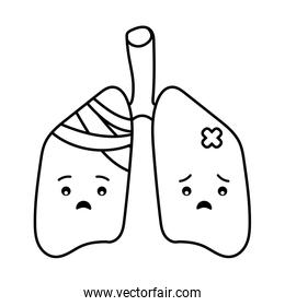 lungs cartoon line style icon vector design