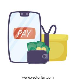 smartphone with wallet money and gift