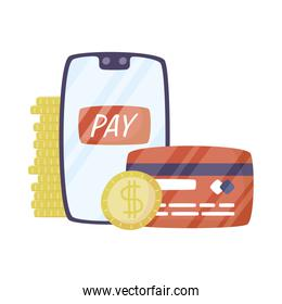 smartphone with credit card and money