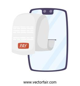 smartphone with receipt pay icon