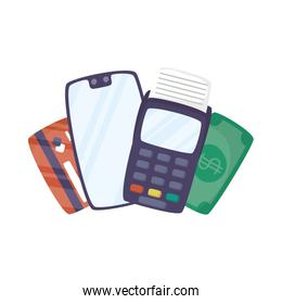 smartphone with voucher and credit card
