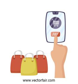 smartphone with shopping cart and bag