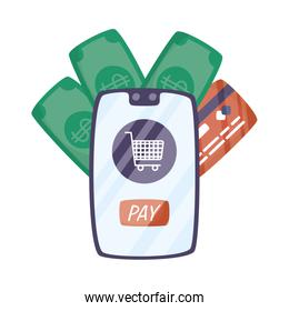 smartphone with shopping cart and credit card