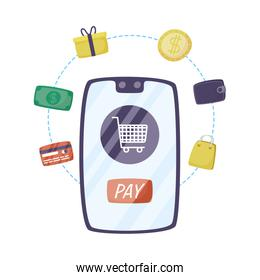 smartphone with shopping cart and ecommerce icons