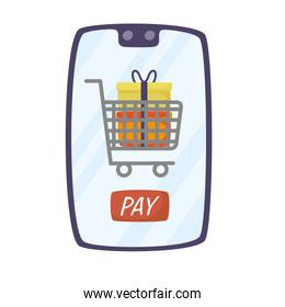 smartphone with shopping cart and gifts
