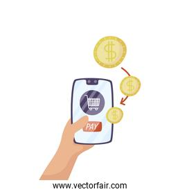 smartphone with shopping cart and coins money