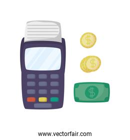 voucher machine with bills and coins dollars ecommerce
