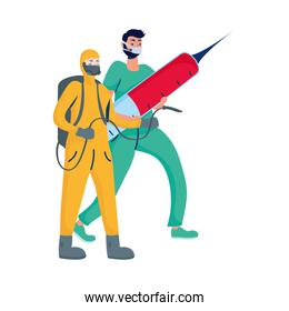 male doctor with injection and biosafety worker
