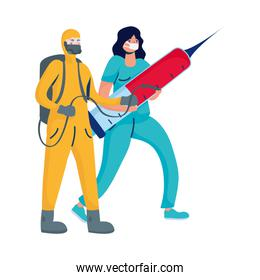 female doctor with injection and biosafety worker