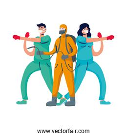 professional doctors couple boxing with gloves and biosafety worker