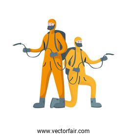 men cleaners with biosafety suits characters
