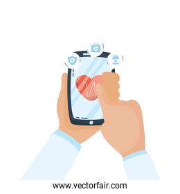 smartphone with heart cardiology telemedicine app