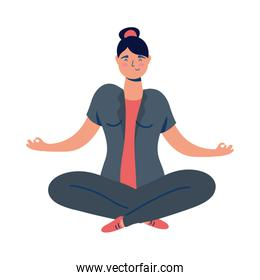 business woman in lotus position