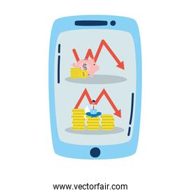 smartphone with arrows statistics and businessman
