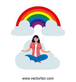 elegant business woman in lotus position on the cloud with rainbow