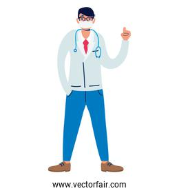 professional doctor using medical mask with stethoscope