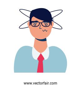 businessman sick with dizziness character