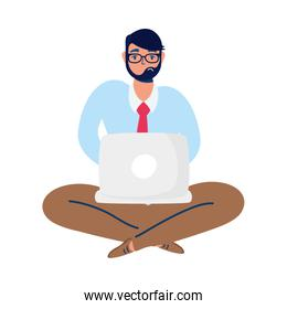 elegant business man with lotus position using laptop over white