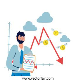 sad business man with statistics arrow and coins flying