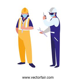 industrial workers men working with face mask