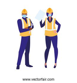Industrial workers couple working with face mask