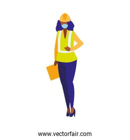 industrial worker woman working with face mask