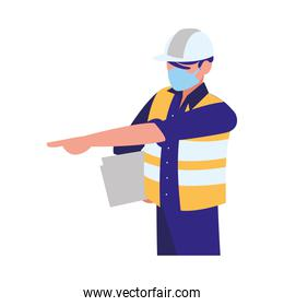 industrial worker man working with face mask