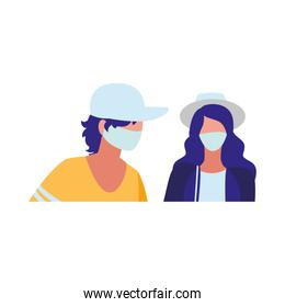 couple in the city wearing face mask