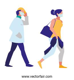 couple walking in the city wearing face mask