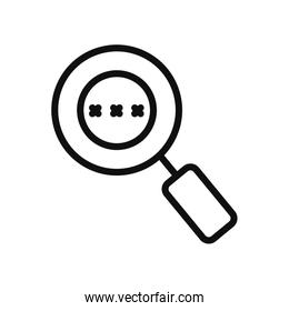 cyber security concept, magnifying glass with password code, line style