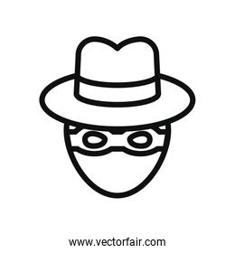 cyber security concept, crime hacker icon, line style