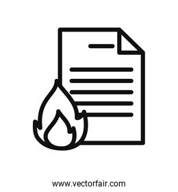 cyber security concept, document with fire flame icon, line style
