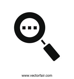cyber security concept, magnifying glass with password code, silhouette style