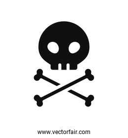 skull and crossed bones icon, silhouette style