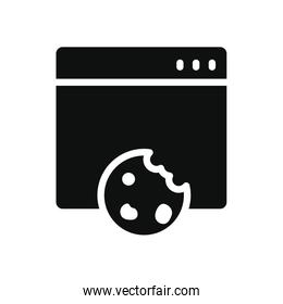 cyber security concept, cookies web page icon, silhouette style