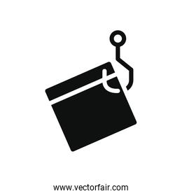 cyber security concept, hook with web page icon, silhouette style