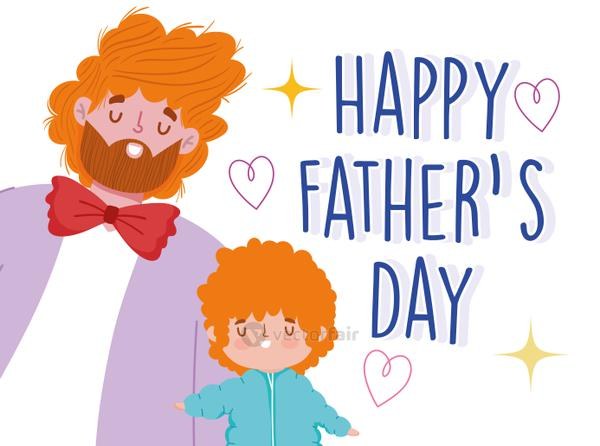 happy fathers day, dad and son with curly hair cartoon celebration