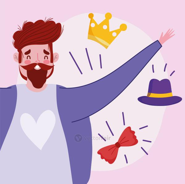 happy fathers day, dad with mustache crown hat and bow tie cartoon
