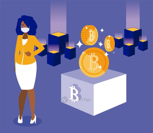 Woman with mask and bitcoins boxes vector design