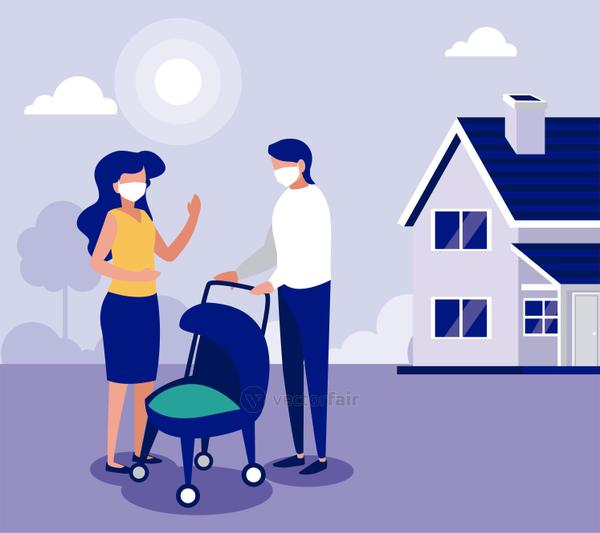 Family with masks outside house vector design