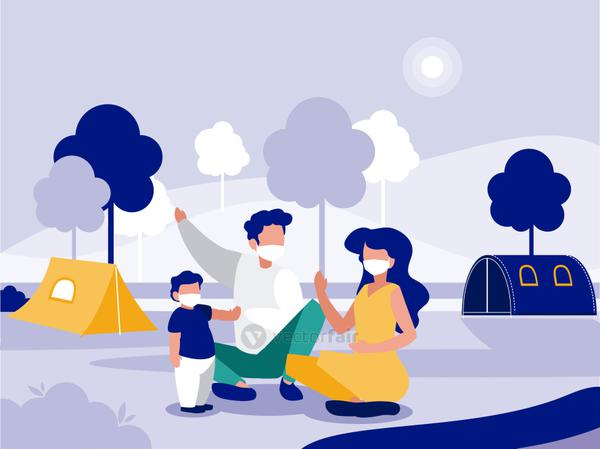 Family with masks at park vector design