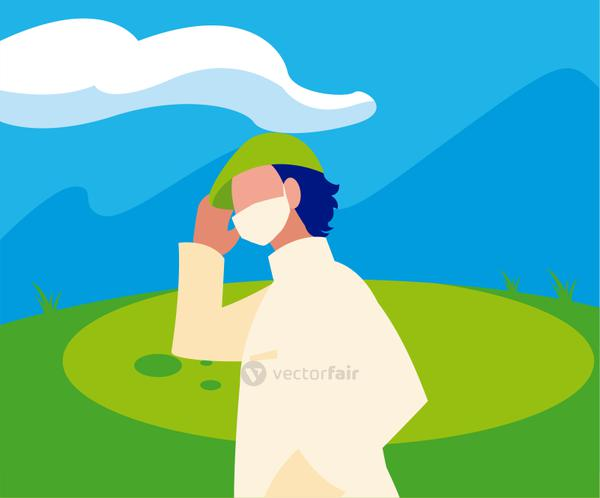 Man avatar with mask outside vector design