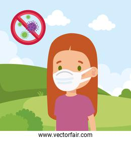 cute girl using face mask in landscape