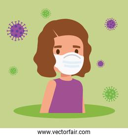 cute girl using face mask with particles covid 19
