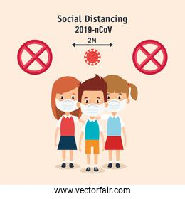 campaign of social distancing for 2019 ncov with children using face mask